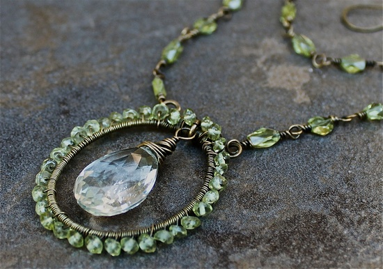 Elegant Peridot and Quartz Teardrop Wire Wrapped Necklace