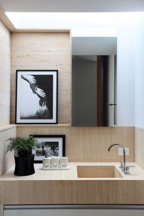Modern bathroom with character. Travertine