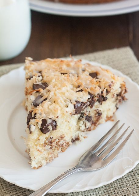 Chocolate Chunk Coconut Cake with Coconut Drizzle