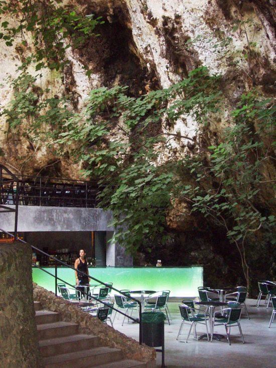 Glowing Bar at the Entrance of a Natural Cave, Mallorca by A2 Arquitectos