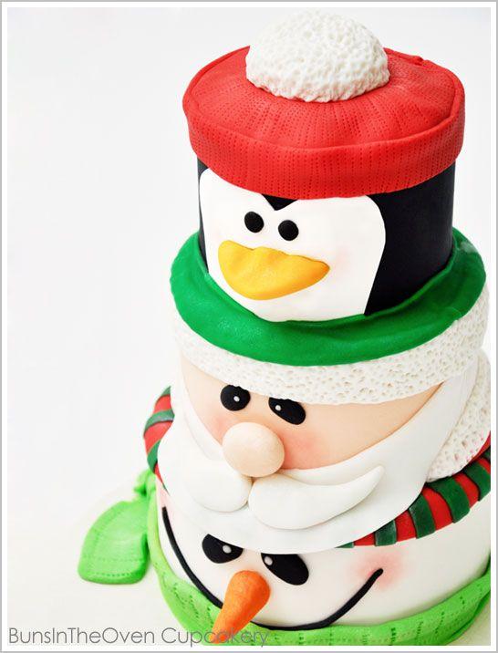 Santa, Penguin, Snowman Cake