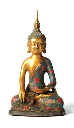 Gold Bronze & Porcelain Floral Cloisonne Buddha Courtesy of InStyle-Decor.com Beverly Hills Inspiring & supporting Hollywood interior design professionals and fans, sharing beautiful luxe home decor inspirations, trending 1st in Hollywood Repin, Share & Enjoy