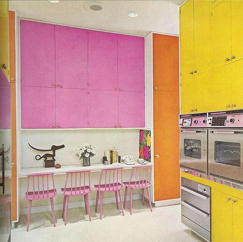 I'm not sure about the yellow, but I'm totally in for the pink and orange. #retro #kitchen #pink #yellow