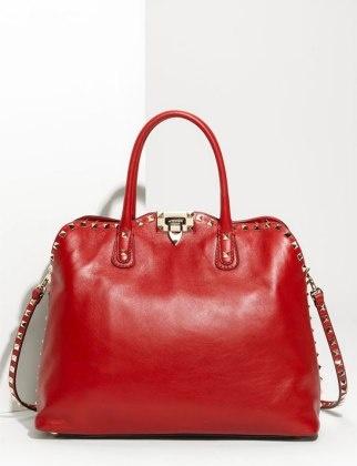 "50 Dream Handbags: Valentino ""Rock Stud"" Leather Handbag, $1,995 #handbags, #handbags galore, #shoulder bag, #evening bag, #leather handbags."