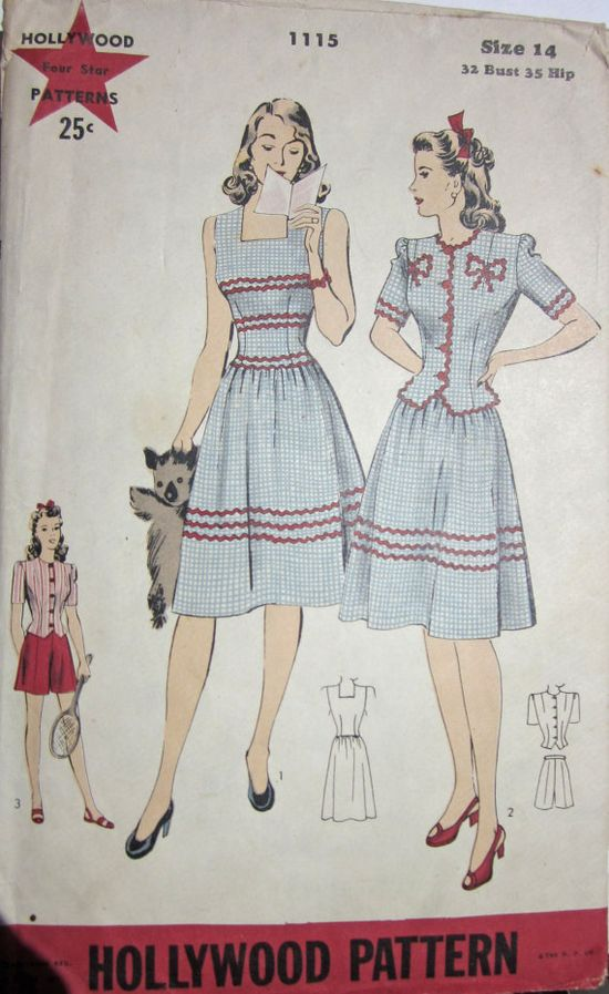 A charming 1940s Hollywood pattern for warm weather fashions. #vintage #1940s #sewing #patterns #dresses