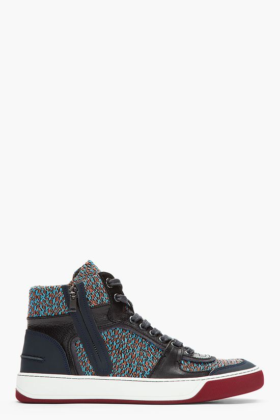 Lanvin Navy Leather And Tweed Sneakers -  Lanvin Navy Leather And Tweed Sneakers Lanvin High top tweed sneakers in navy. blue and orange. Round toe. Charcoal lace up closure with charcoal eyelets. Leather trimmings throughout in black and navy. Suede trimmings at eyerow and sides in charcoal. Moccasin stitch at hel counter. Textured...