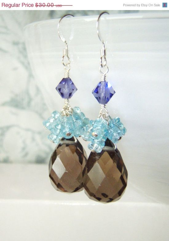 25% OFF Smokey quartz earrings with ocean blue apatite, sterling silver jewelry