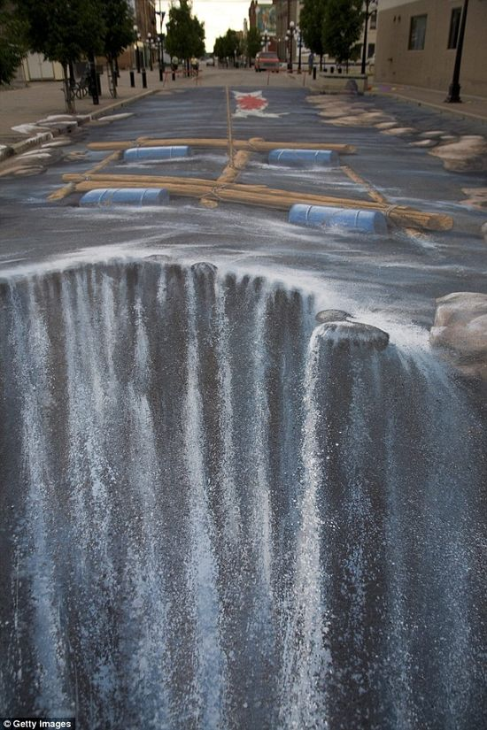 3D street painting 'Turning River Street into a River' in Moose Jaw, Saskatchewan