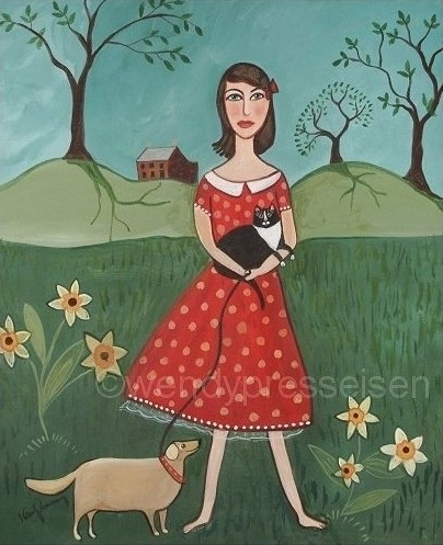 a POLKADOT PET GIRL Funky Art Print The Pet by SeaGardenCottage