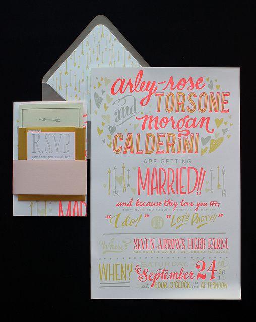 Our neon wedding invites!