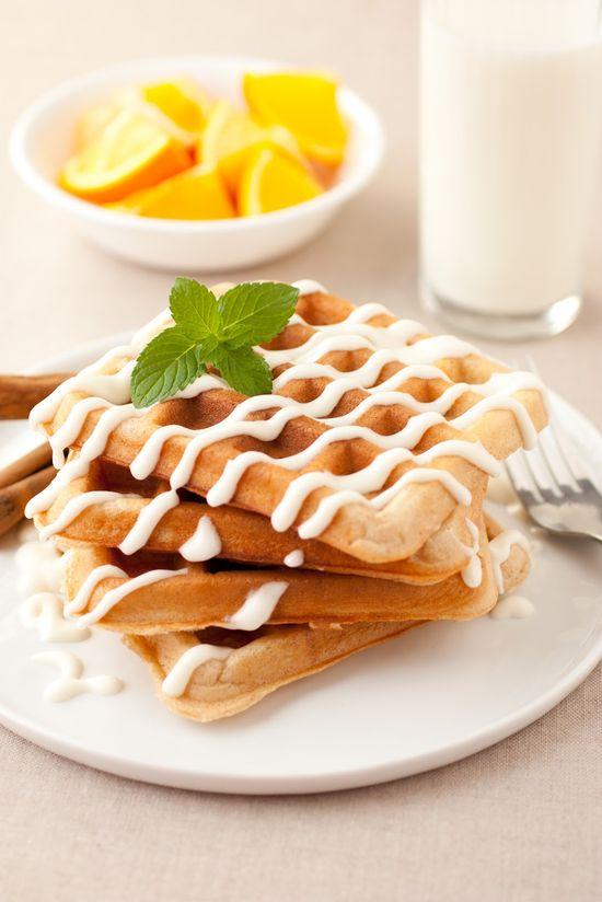 Overnight Cinnamon Roll Waffles by cookingclassy #Waffles #Cinnamon_Rolls