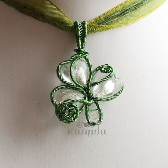 wire wrapped clover pendant