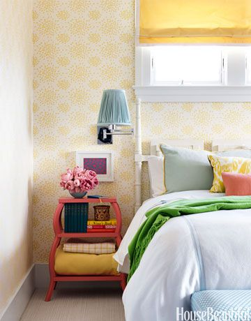 Designer Mona Ross Berman used quieter shades of her colorful palette in the guest room.