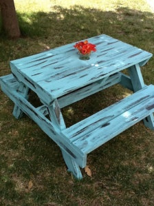 Shabby turquoise kid's picnic table from Etsy
