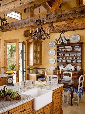 Country French Kitchen: giant farmhouse sink, exposed wood beams, wood hutch, wh