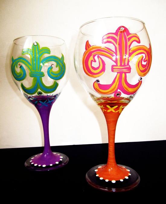 Fleur de Lis ♥ goblet wine glasses