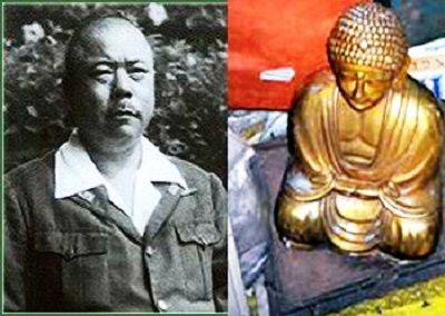 General Tomoyuki Yamashita on the left and one of the recovered Golden Buddha on the right.