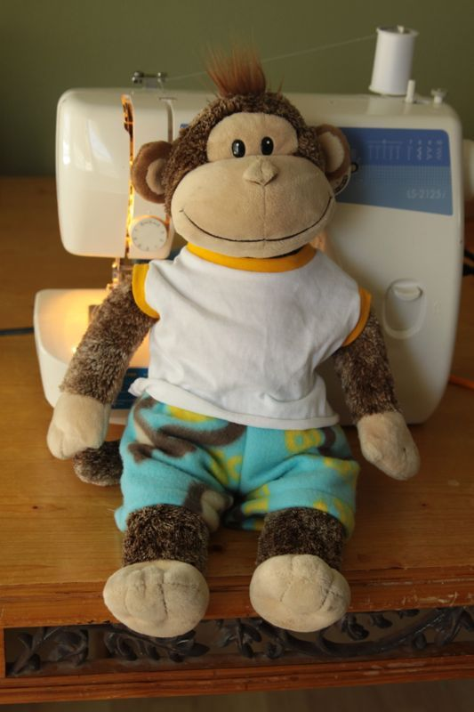 Free pattern and tutorial for shirt and pants for a stuffed animal