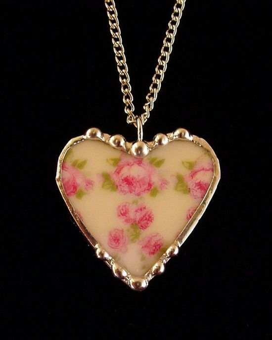 Broken china jewelry heart pendant by Laura Beth Love