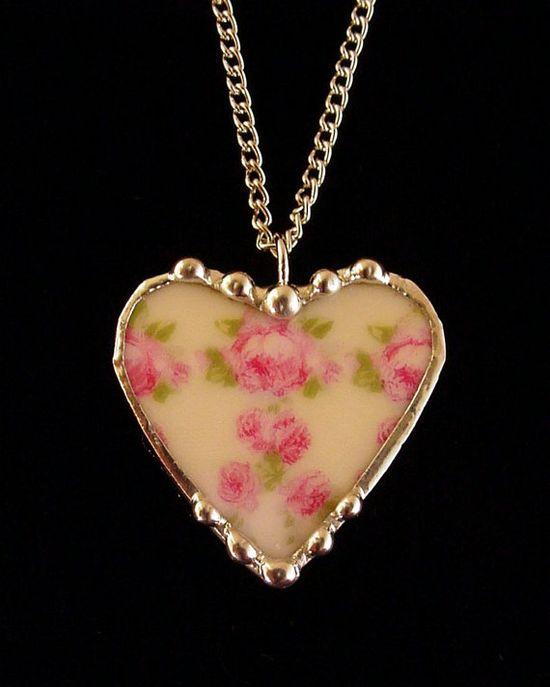 Broken china jewelry heart pendant by Laura Beth Love