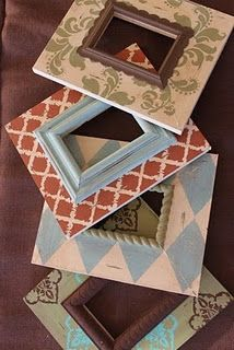 DIY picture frames... glue a smaller painted frame onto a large flat frame that has been covered with scrapbook paper and then mod podged to protect it.  Awesome looking one-of-a-kind frames that would make sweet gifts for family and friends.