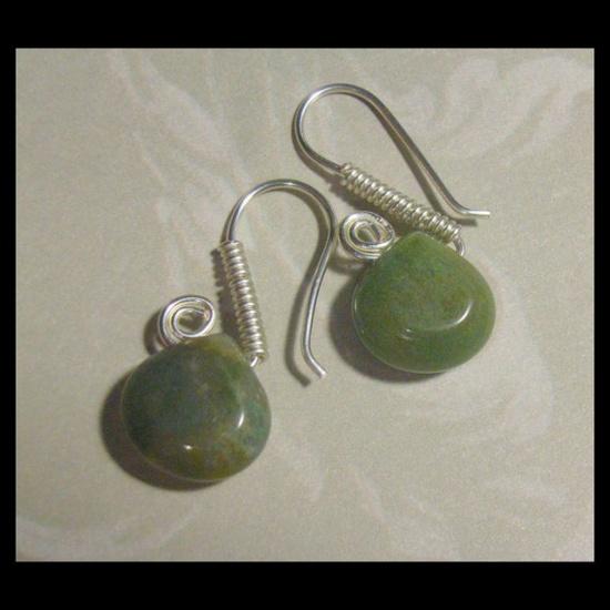 Jewelry Earrings Green Gemstone Agate $7.50
