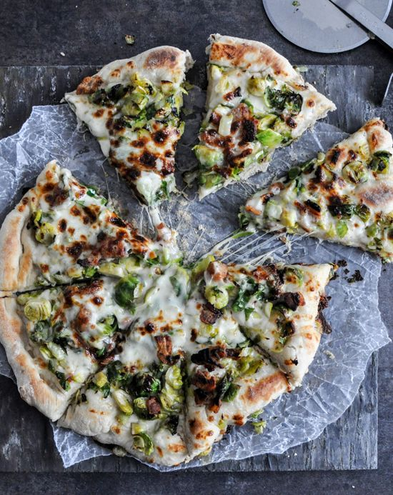 brussel sprout + bacon pizza