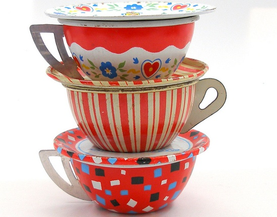 Vintage tin toy tea cups & saucers. by AlliesAdornments, via Flickr