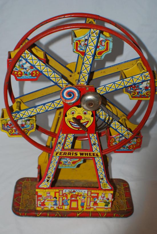 1930s J CHEIN tin toy wind up hercules ferris