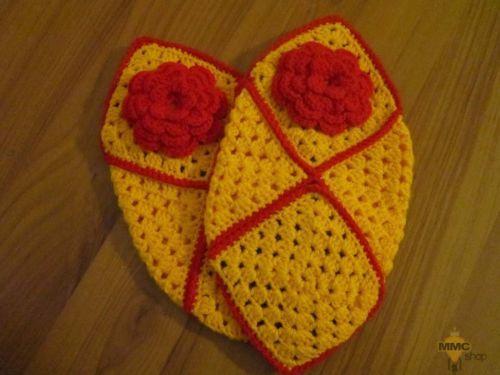Women Granny square slippers-Yellow hand made gift 36-39 EU, 3 - 6 UK