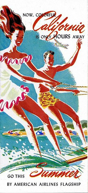 Colorful California is only hours away * American Airlines Flagship #travel #brochure 1950s Vintage Ad