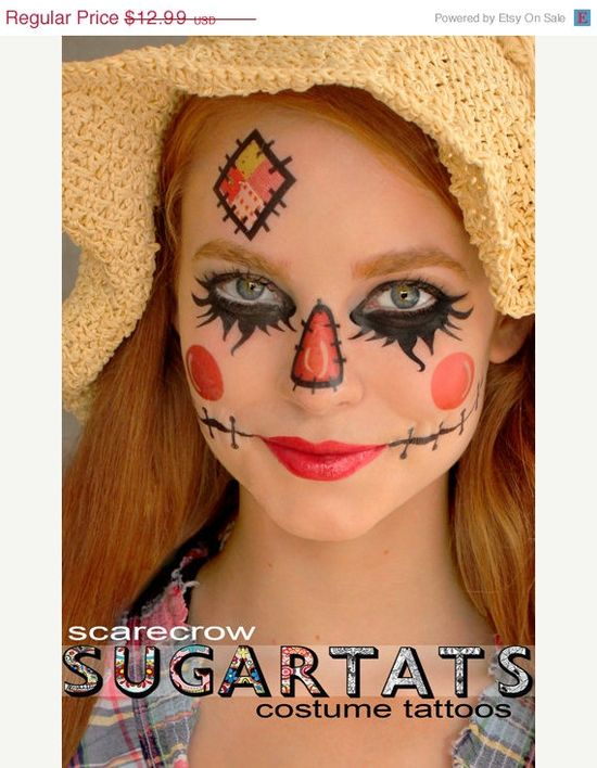 3.00 off SALE Scarecrow - Temporary Tattoos - Costume Halloween 2013 Makeup on Etsy, $9.99