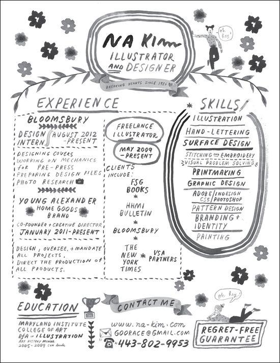 Hand-lettered resume.