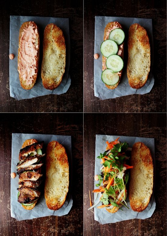 grilled chicken with vegetables sandwich