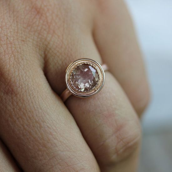 14k Yellow Gold and Oregon Sunstone Halo Ring by onegarnetgirl