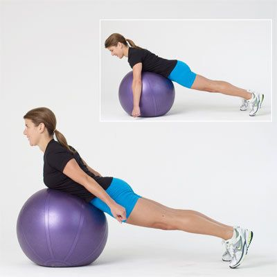 Your Get-Fit Regimen: This Cobra On The Ball exercise tones the shoulders, back, butt, and core. #fitness
