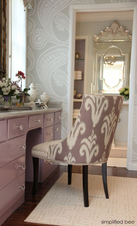 Dressing Room & Bath designed by Jana Meewes Fung of Julianne Quelle Interior Design // lavender vanity and ikat chair // Woodside Decorator Show House #bathroom #vanity