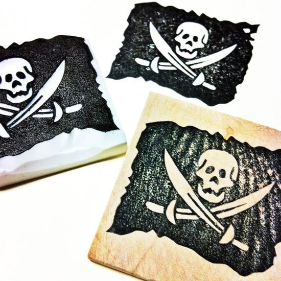 pirates flag rubber stamp. hand carved rubber stamp