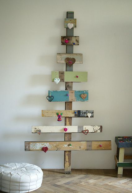 salvaged wood Christmas tree...this is so cool!