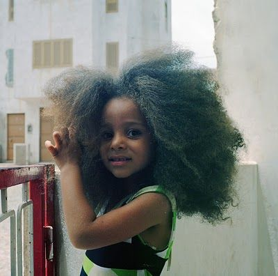 Little brown girl with halo of natural hair …  So cute ♥