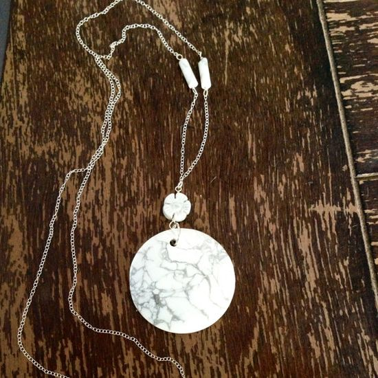 White and Gray Necklace Howlite Jewelry by jewelrybycarmal on Etsy, $52.00