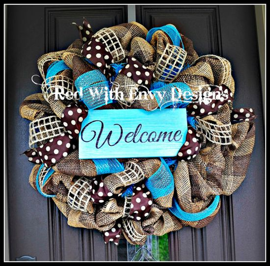 Summer Wreath, Wreath, Deco Mesh Wreath, Deco Mesh, Spring Wreath, Burlap Wreath, Burlap, Spring, Summer