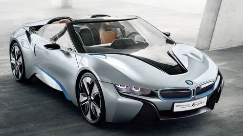 BMW i8    The BMW i8, first introduced as the BMW Concept Vision Efficient Dynamics, is a plug-in hybrid under development by BMW. The initial concept car was unveiled at the 2009 Frankfurt Motor Show,and the BMW i8 concept car destined for production was unveiled at the 2011 Frankfurt Motor Show.The i8 has a 7.2 kWh lithium-ion battery pack which delivers an all-electric range of 35 km (22 mi).