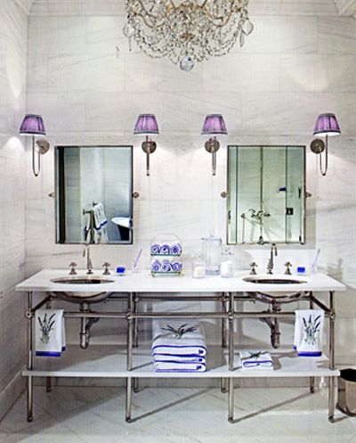 To the ceiling marble + double vanity.