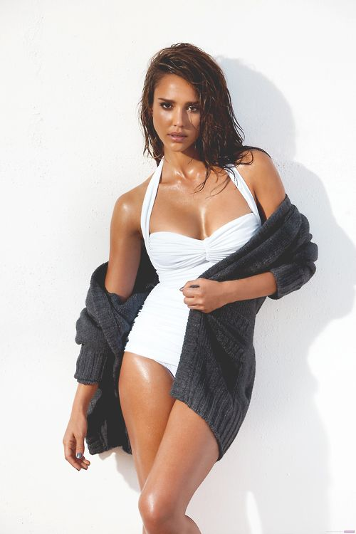 Jessica Alba - white bathing suit - one piece - sexy woman