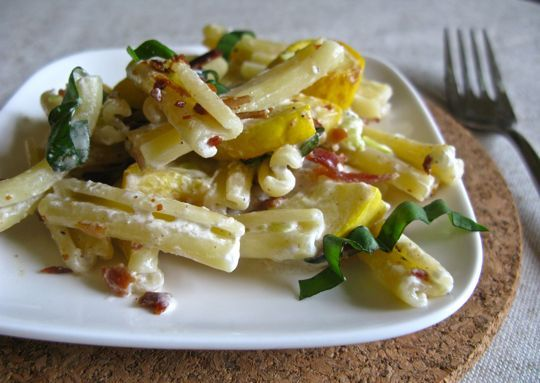 Recipe:  Squash, Bacon, and Goat Cheese Pasta with Basil