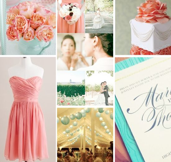 My inspiration board from all that is found here! Coral and Aqua Blue Wedding In
