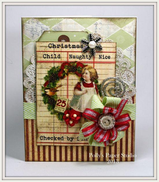 Vintage Style Wreath & Girl Christmas Card