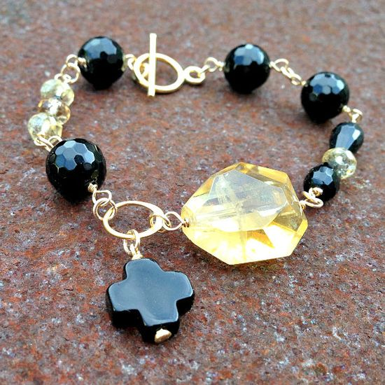Onyx and Citrine Bracelet Black and Yellow by jewelrybycarmal, $70.00