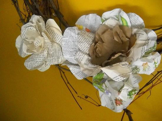 handmade paper flower wreaths $22